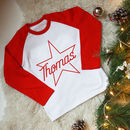 Kids Personalised Christmas Star Name Top/ T Shirt
