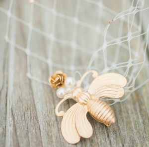 Gold Bee And Flower Birdcage Veil - wedding fashion