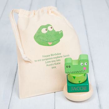 Personalised Crocodile Baby Stacking Toys