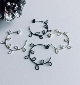 Handmade Silver Petal Hoop Earrings - earrings