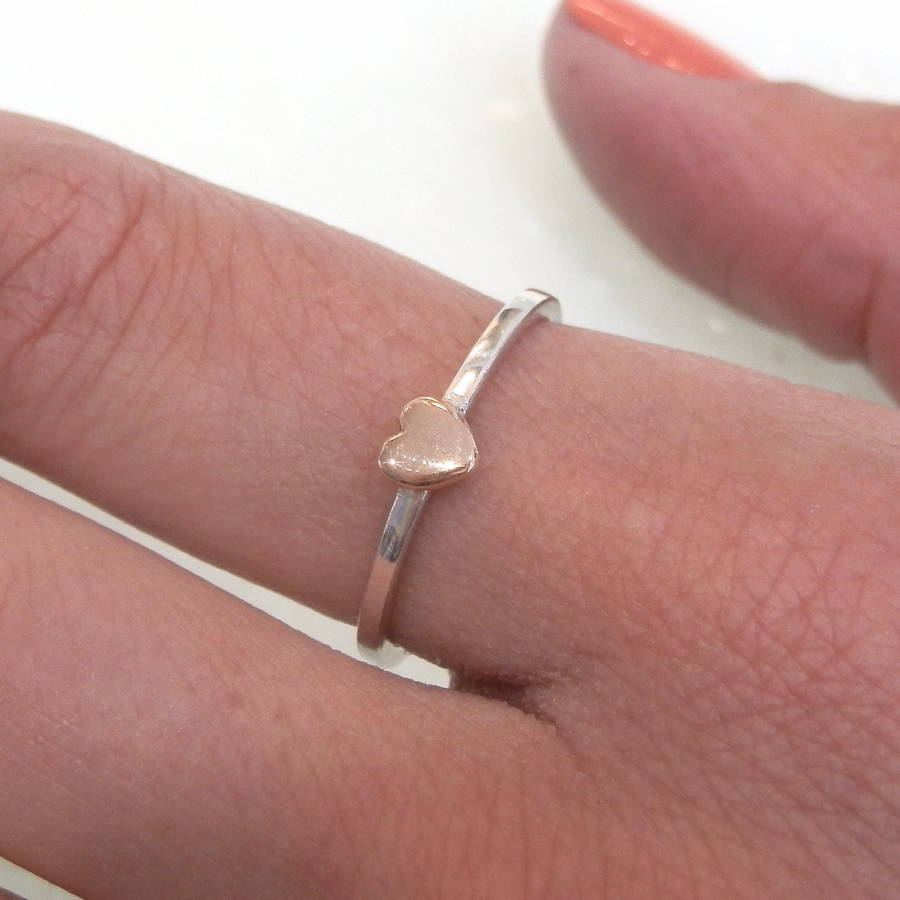 9ct gold heart and silver stacking ring by kirsty taylor goldsmiths ...