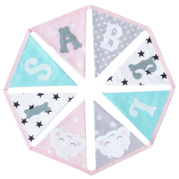 Personalised Children's Bunting: Girls Pink And Mint