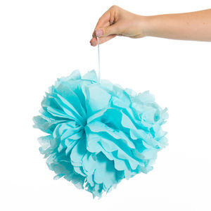 Pack Of Three Light Blue Pom Poms