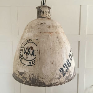 Metal Industrial Weathered Cream Grey Hanging Pendant - lighting