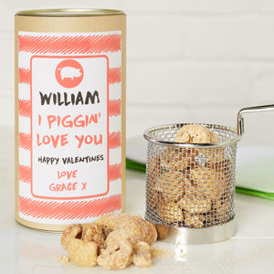I Piggin' Love You Pork Scratching In Gift Tin - 50th birthday gifts