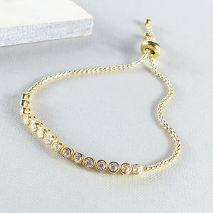 Gold And Crystal Slider Friendship Bracelet
