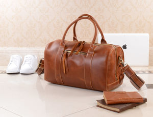 Personalised Leather Weekend Boarding Bag