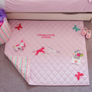 Girl's Unicorn And Butterfly Pink Floor And Play Mat - baby & child sale