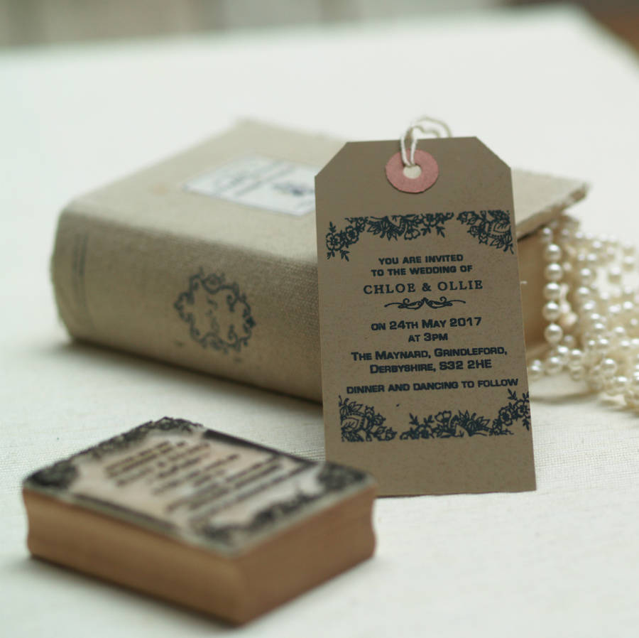 Wedding Invitation Rubber Stamps: Personalised Wedding Invitation Stamp Lace Design By