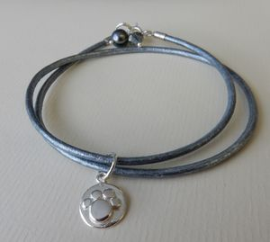 Silver Paw Print Leather Charm Bracelet - children's jewellery