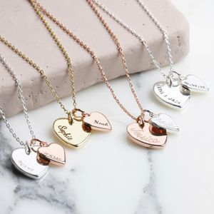 Personalised Double Heart Charm Necklace - jewellery