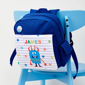 Boys Personalised Little Monster Mini Rucksack