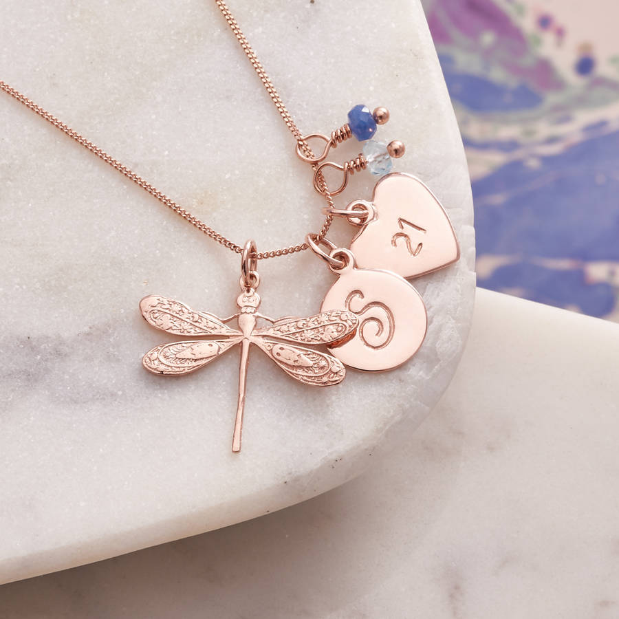 product dragonfly long rose pendant chain tone gold necklace desiflo