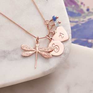 Rose Gold Dragonfly Necklace With Birthstones - necklaces & pendants