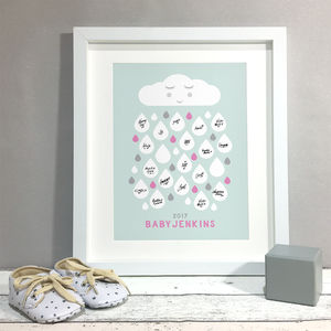 Raindrops Personalised Baby Shower Guest Book Print