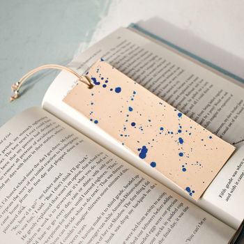 Leather Bookmark, Blue Splash With Silver Beads