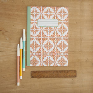Orange Floral Tile Pattern A5 Notebook