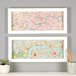 London Thames Hand Drawn Map Print - maps & locations
