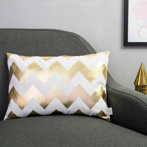 Metallic Chevron Cushion In White And Gold