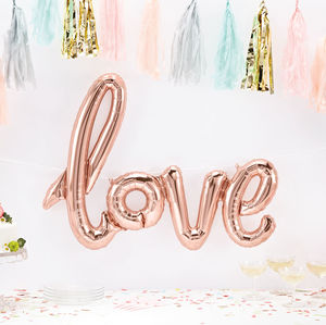 Love Script Rose Gold Balloon - outdoor decorations