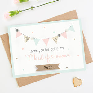 Thank You Maid Of Honour Card Mint Bunting