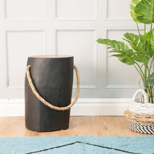 Natural Teak Round Black Stool Side Table With Rope
