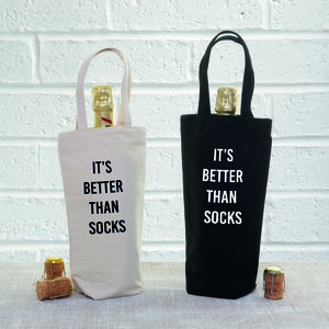 'Better Than Socks' Christmas Bottle Gift Bag - cards & wrap
