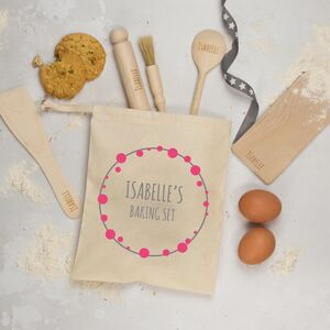 Personalised Childs Baking Set, Bubbles Wreath