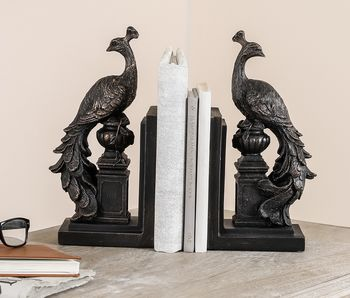Personalised Black Elegant Peacock Bookends