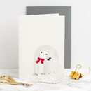Polar Bear With Red Felt Scarf Christmas Card
