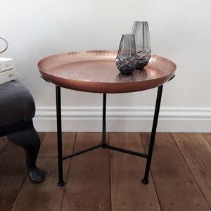 Moroccan Style Copper Tray Table - furniture