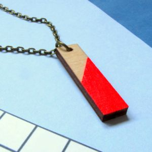 Neon Red Rectangle Geometric Wooden Necklace