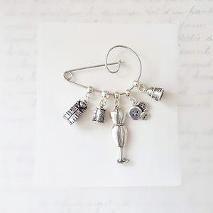 Personalised Sewing Mends The Soul Brooch
