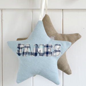 Personalised Embroidered Star - hanging decorations