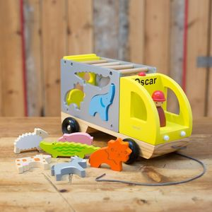 Personalised Wooden Shape Sorter Animal Truck