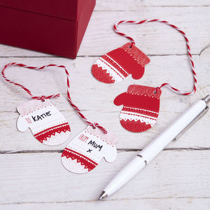 Red And White Christmas Knitted Effect Mitten Gift Tags