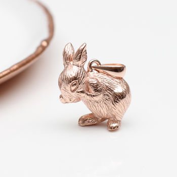 Sterling Silver Or 18ct Rose Gold Clip Bunny Charm