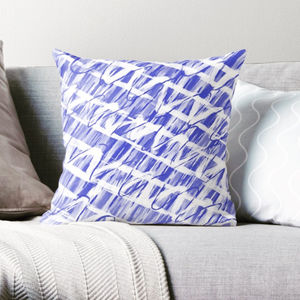 Modern Blue And White Batik Cushion