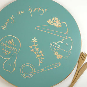 'Homage Au Fromage' Hand Painted Cheeseboard