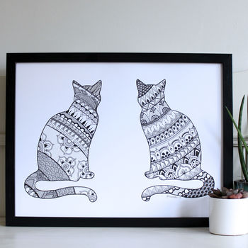 Hand Drawn Mandala Cats