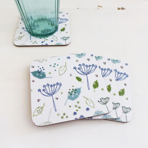Set Of Four Blue Parsley Coasters