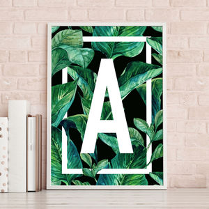 Tropical Leaf Monogram Print - posters & prints