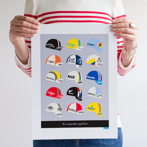 Classic Cycling Caps Art Print