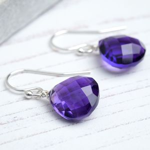 Amethyst Faceted Earrings February Birthstone