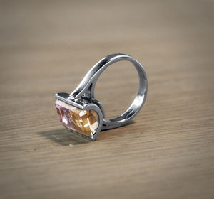Ametrine And 18ct White Gold Mille Grain Ring