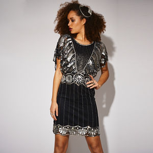 Katie Embellished Sequin Black Dress - fashion sale