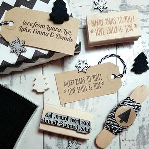 Personalised Christmas Message Text Rubber Stamp - ribbon & wrap