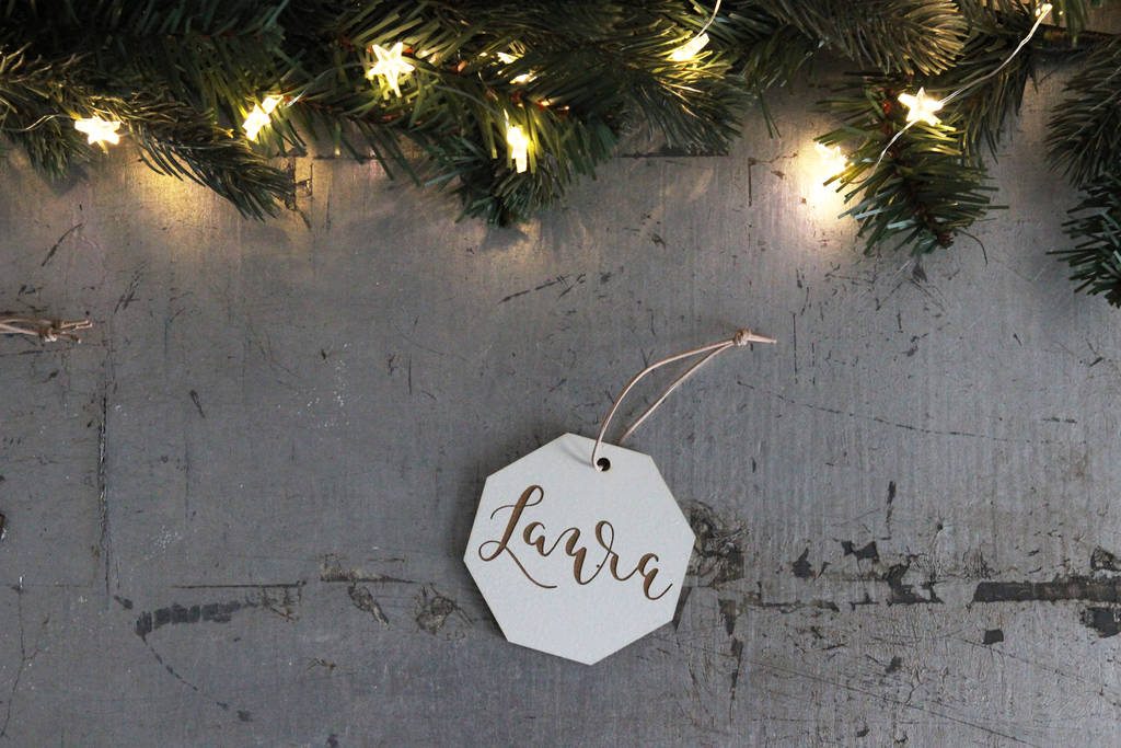Personalised Wooden Modern Calligraphy Tree Decorations
