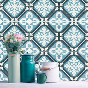 Tangier Blue Tile Stickers Set Pack Of 24 - tiles & tile stickers