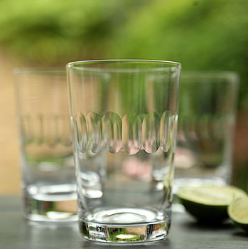 Set Of Six Lens Design Tumblers